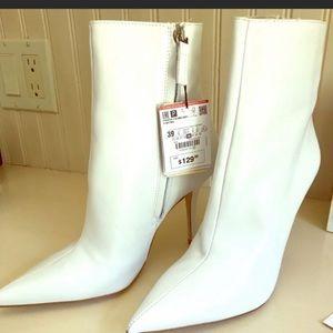 Zara white leather boots